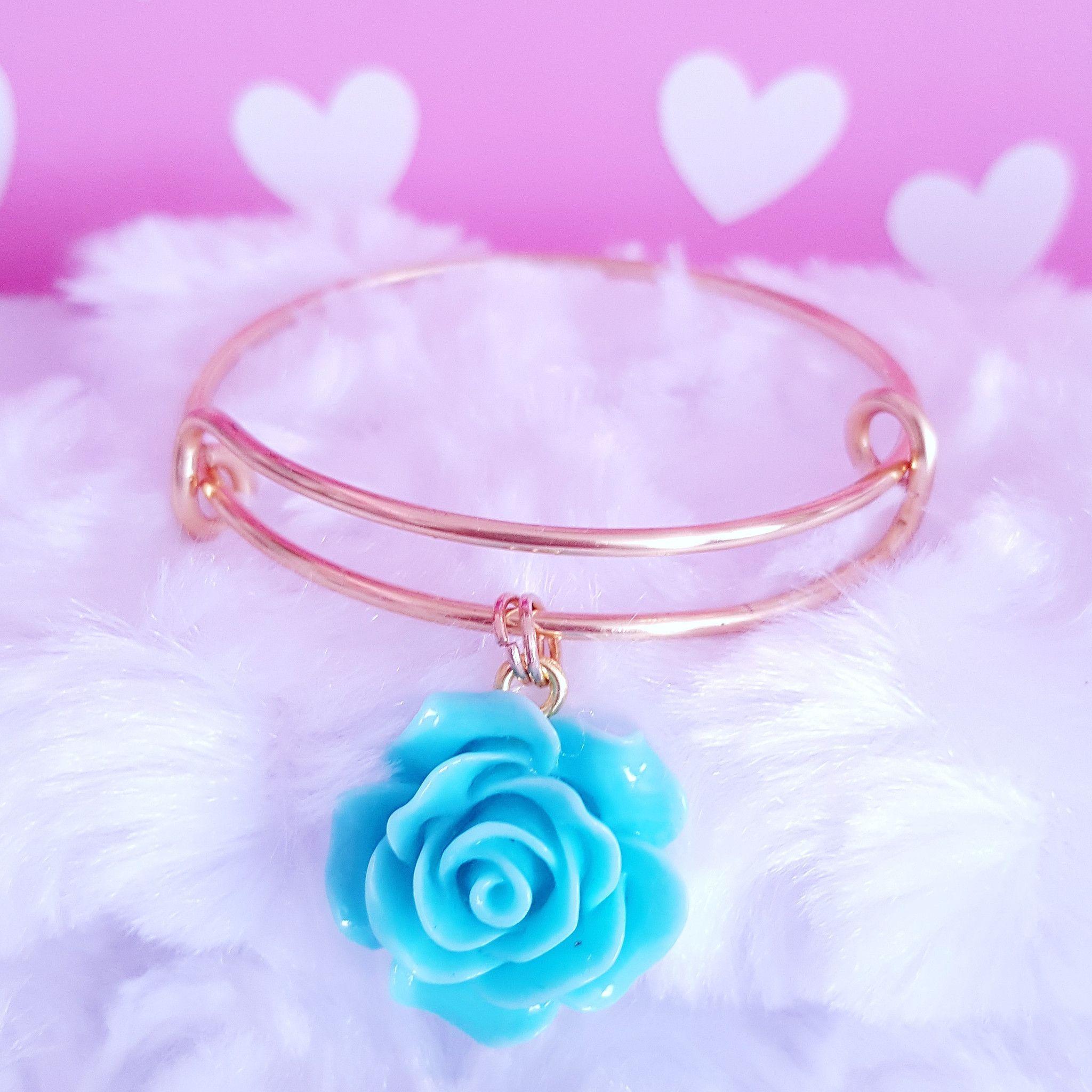 Flower Charm Bangle Bracelet