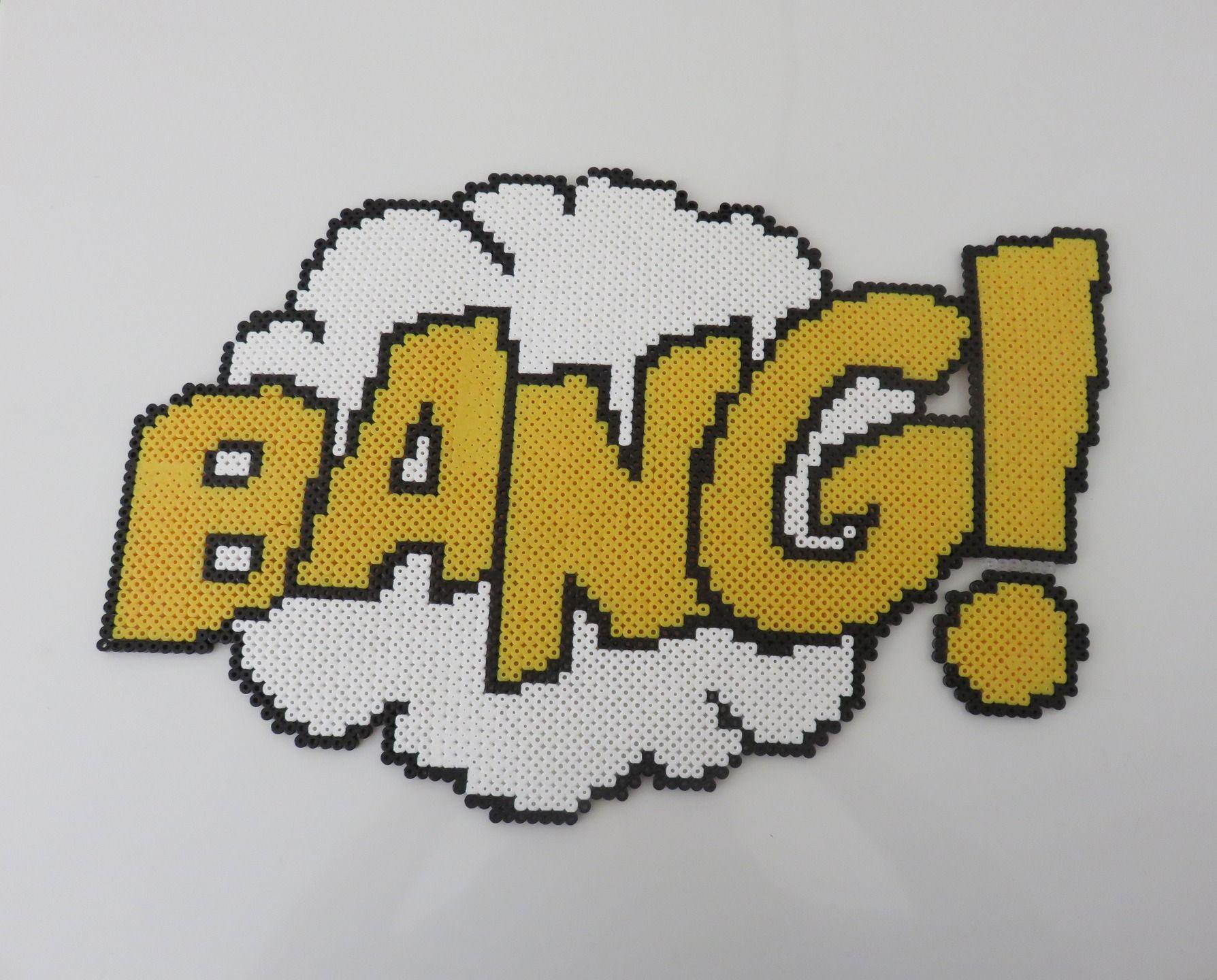 Tableau BANG ! réalisé en perles à repasser de marque HAMA. Pixel ...