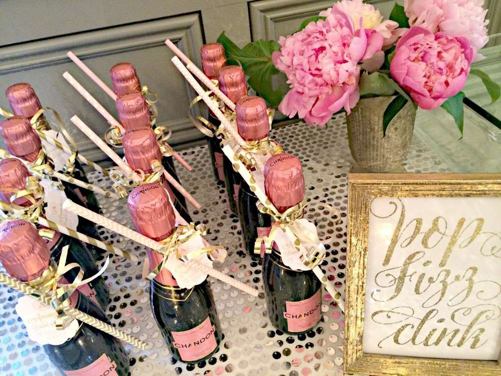 Bubbly Bar Blush Pink Gold Bridal Wedding Shower Party Ideas Photo 2 Of 39 Bridal Shower Champagne Bridal Shower Brunch Pink Bridal Shower