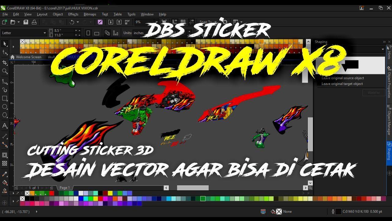 cara membuat vector STICKER 3D PEMULA coreldraw x8 agar