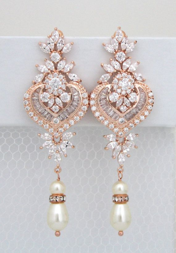 Rose Gold Bridal Earrings Chandelier Wedding By Treasures570