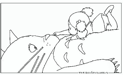 Totoro And Girl Coloring Page Totoro Party Sharpie Colors Totoro Printable