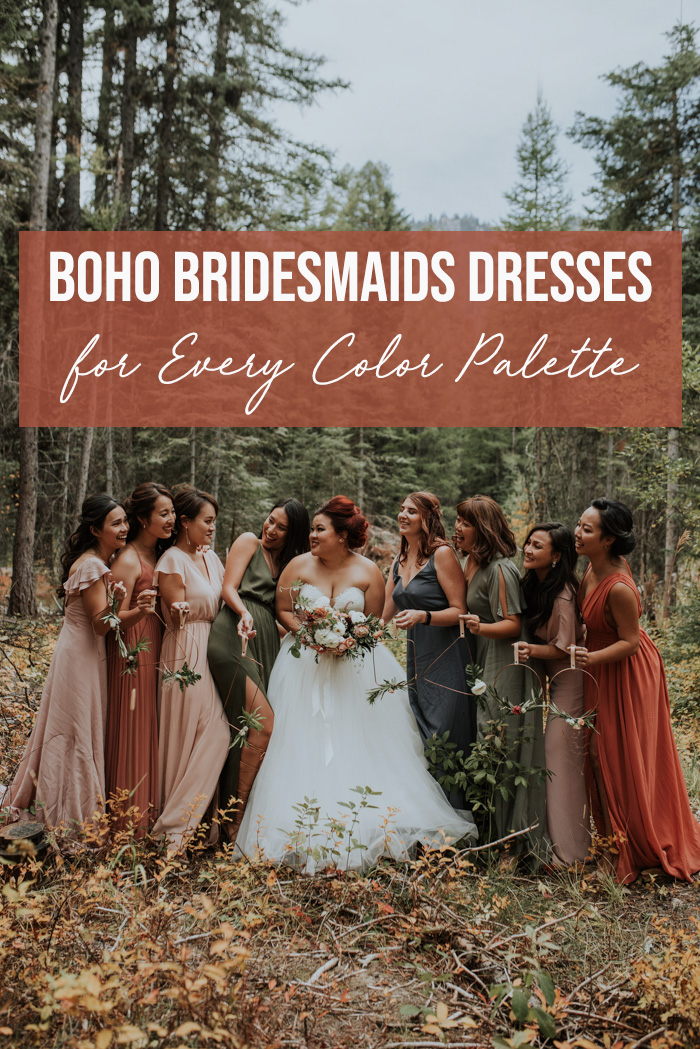 Boho Bridesmaids Dresses For Every Color Palette Junebug Weddings Bridesmaid Dresses Boho Boho Bridesmaid Rustic Bridesmaid Dresses