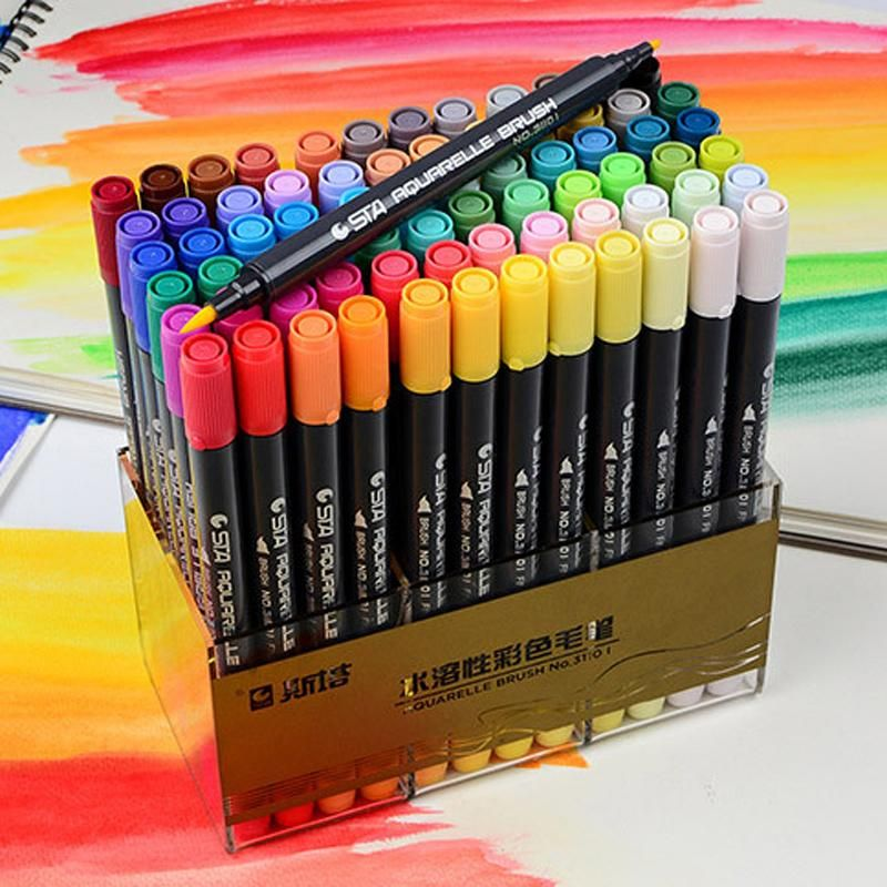 Dual Brush Water Based Art Marker Pens Coloring Brush Pen