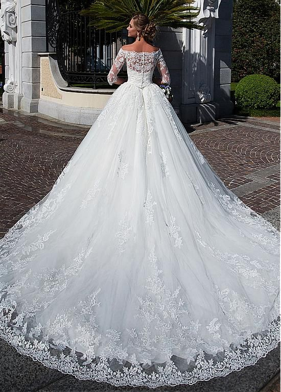 [253.20] Attractive Tulle Off-the-shoulder Neckline Ball Gown Wedding Dress With Lace Appliques & Beadings & Detachable Jacket - magbridal.com.cn