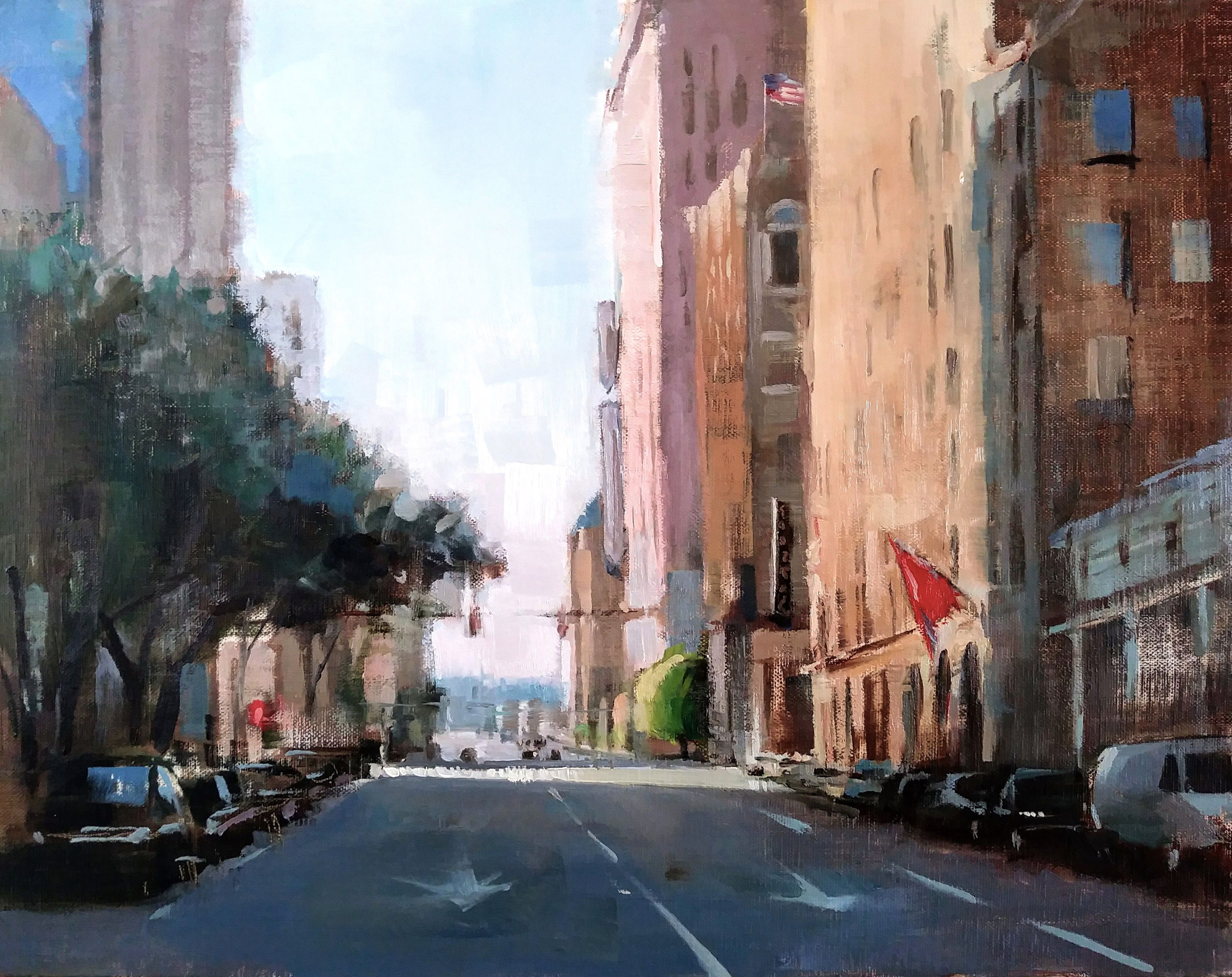 After The Rush By Amy R Peterson Art Painting Landscape Landscapepainting Citystreet City Cityscene City Painting Landscape Paintings City Scene