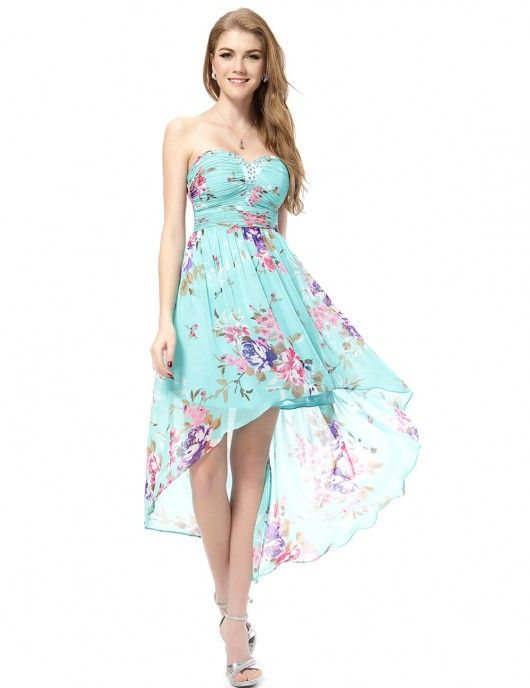 Strapless High-Low Floral Dress | High low, Short sundress and Floral