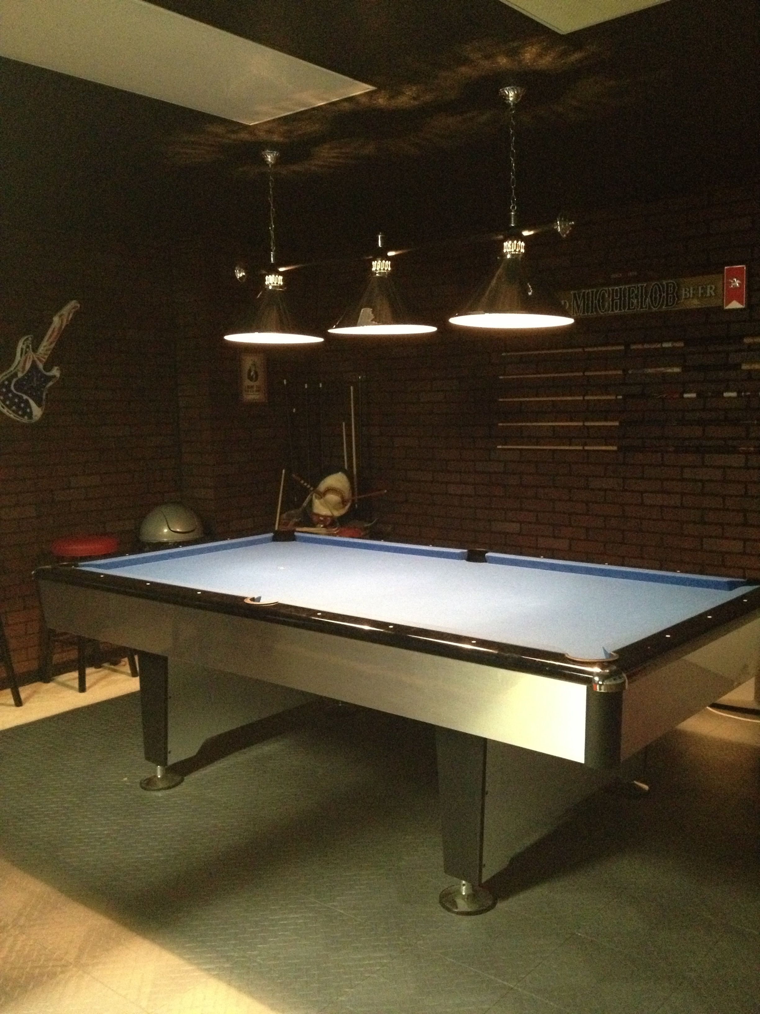 Pool Table Area Of The Game Room Pool Cues Hung On Simple Black