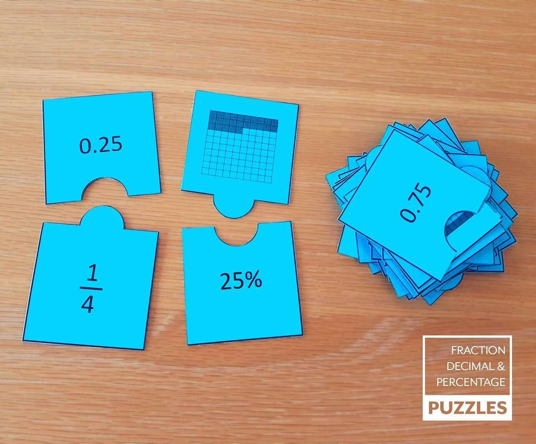 Fraction, Decimal & Percentage Puzzles | Math, Math fractions and ...