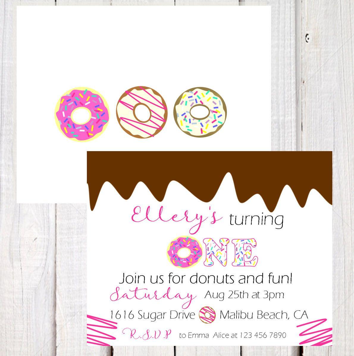 Donut Invitation, Donut first birthday invitation, Donut party ...