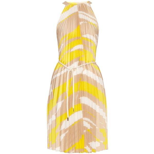 Max Mara Danzica dress (€915) ❤ liked on Polyvore featuring dresses, yellow print, striped pleated dress, maxmara dress, pattern dress, beige dress and graphic dresses