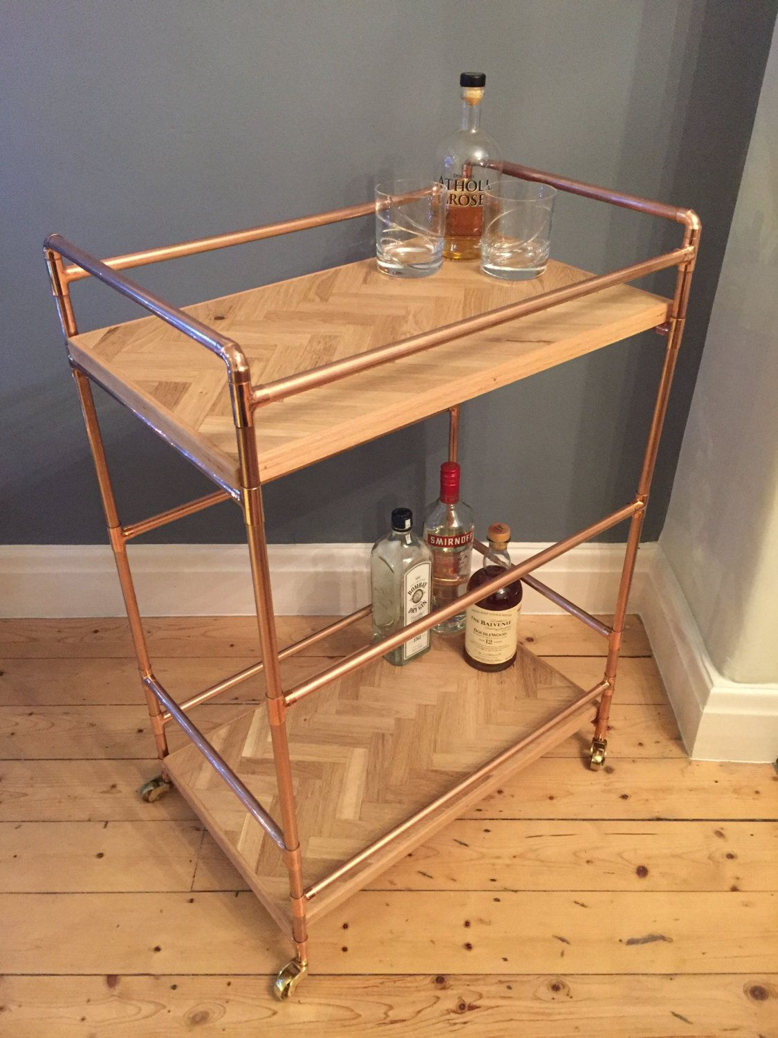 2 Tier Drinks Trolley In A Retro Industrial Style With A Copper Pipe Frame And Reclaimed Oak