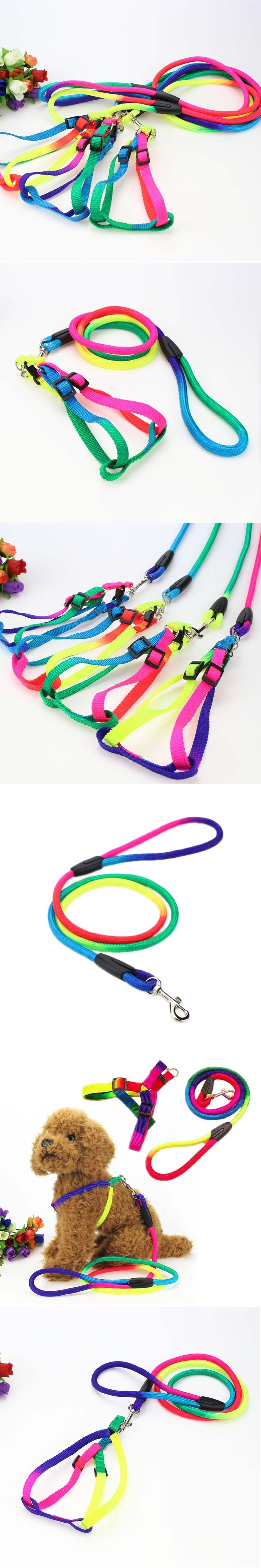 High Quality Adjustable Rainbow Color Pet Dog Lead Leash Small Puppy Rabbit Harness Wiring Cat Kitten Breast Band Nylon S M L