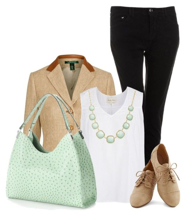 """""""Mondani Palmer Hobo"""" by chebear ❤ liked on Polyvore featuring Armani Jeans, Lauren Ralph Lauren, Mondani, Towne & Reese and mint"""