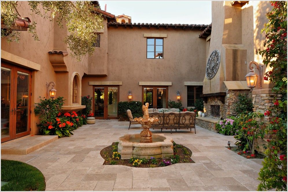 Patio mediterranean san diego courtyard fireplace for Homes with enclosed courtyards
