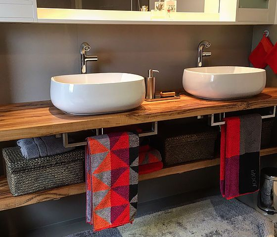 Waschtischplatte aus Holz Waschtischkonsole Waschtisch