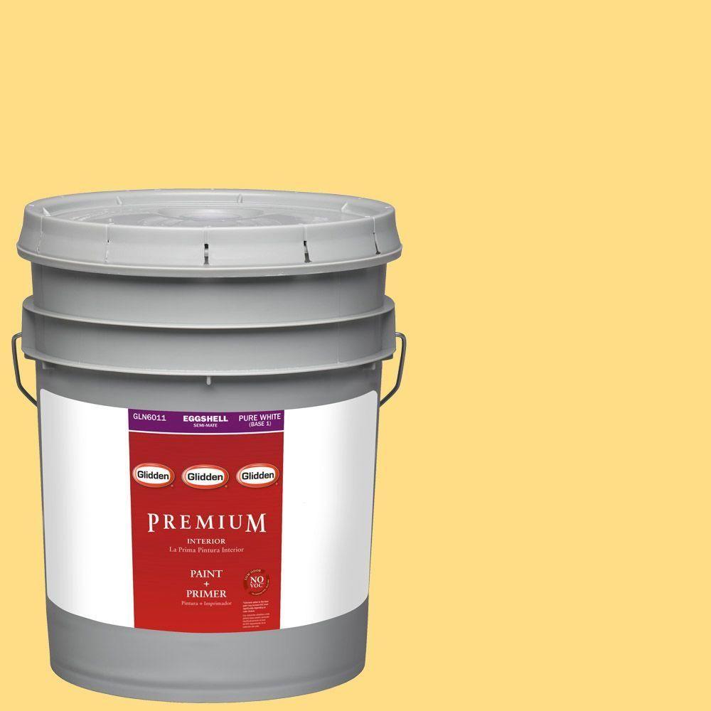 Glidden Premium 5-gal. #HDGY28U Yellowbird Eggshell Latex Interior Paint with Primer