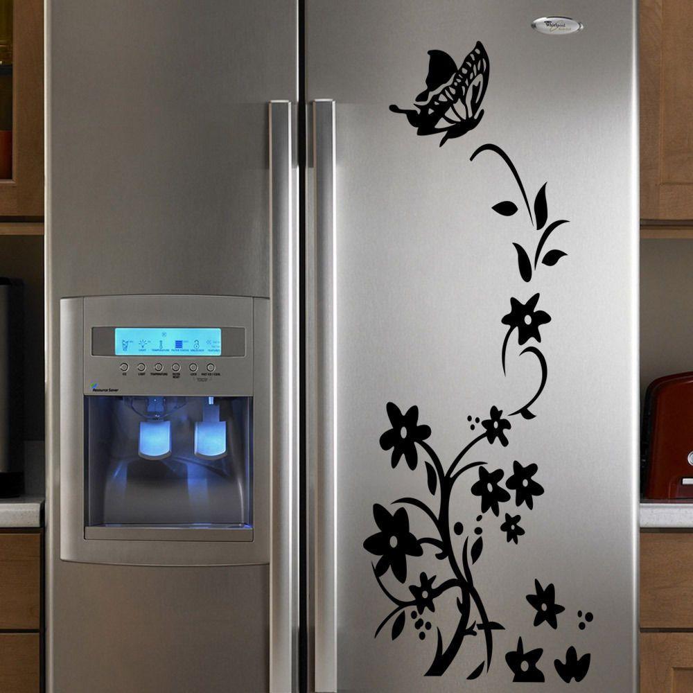 Kitchen Flower Vinyl Refrigerator Wall Stickers Window ...