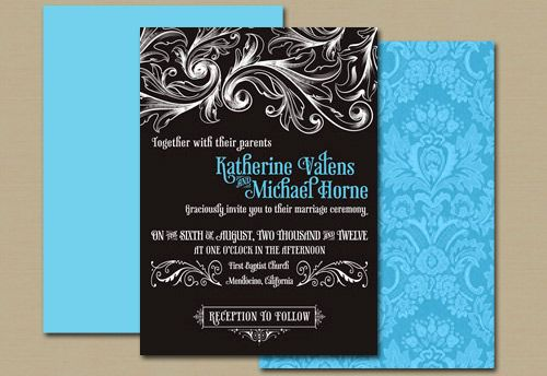 Vintage Lace Wedding Invitation in Black and Blue - Modern Glam