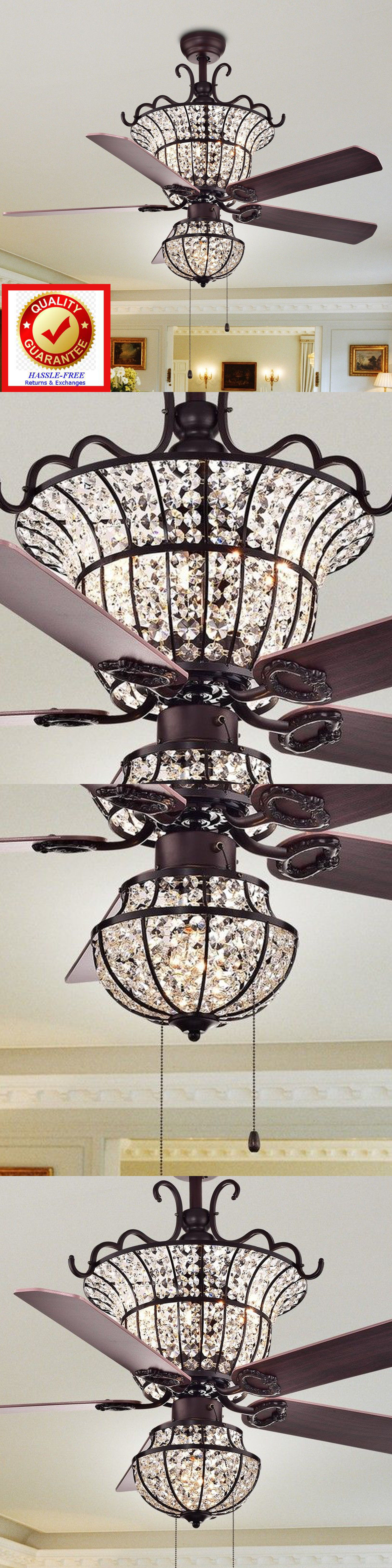 Ceiling Fans Crystal Chandelier Ceiling Fan Bronze Fin 4