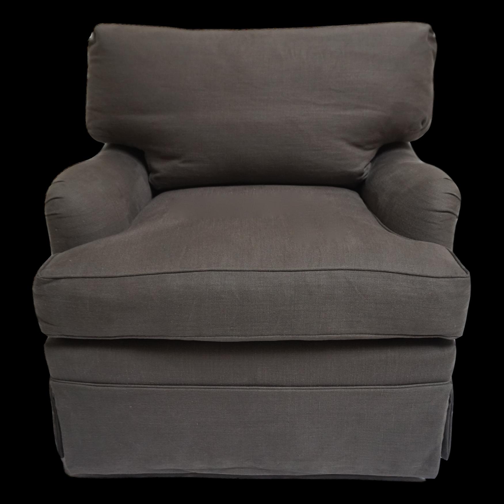 Gray Belgian Linen Swivel Arm Club Chair Club chairs