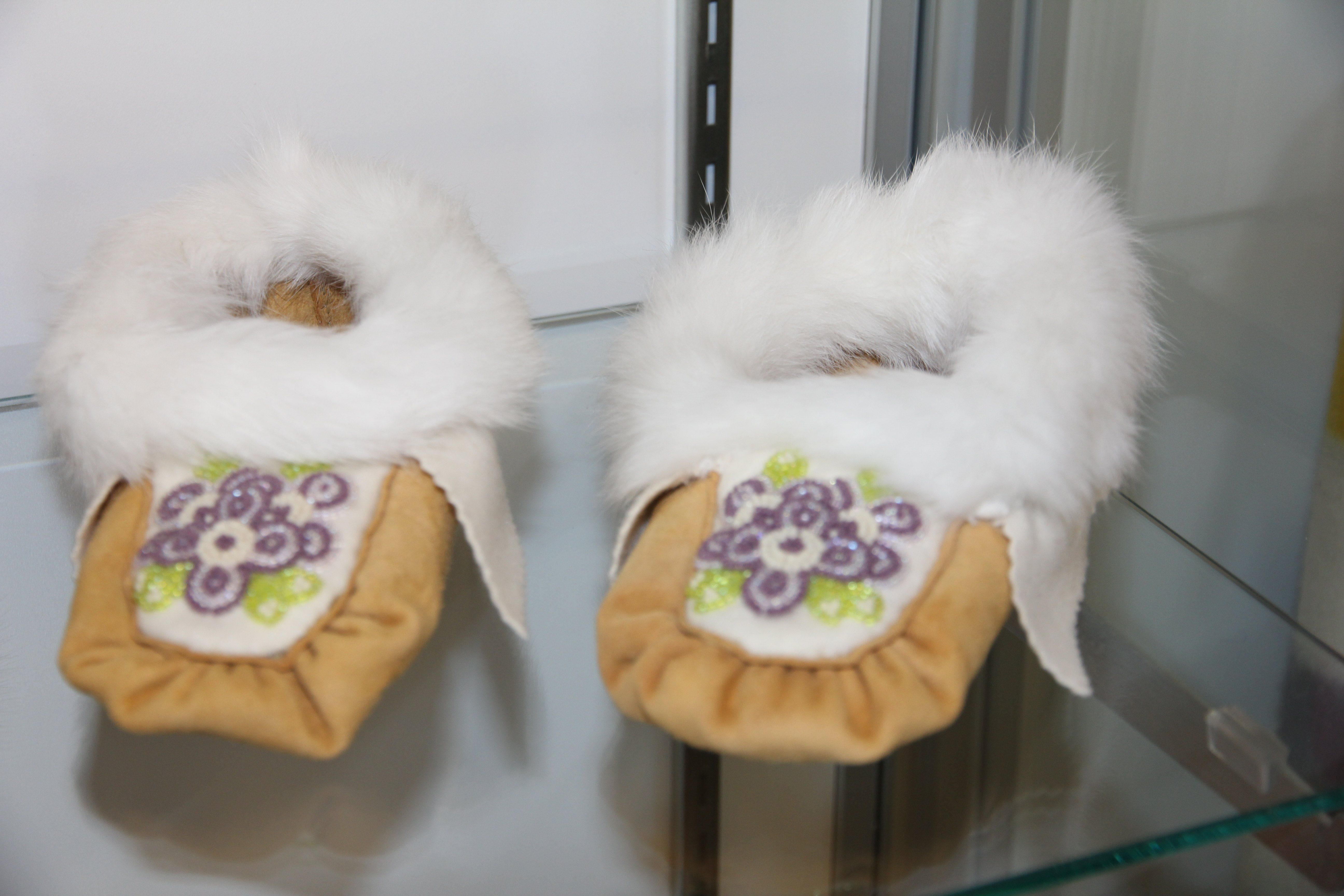 Beaded Moccasins On Display At The Historic Saugeen Metis Interpretive Learning Centre In Southampton Ontario Learning Centers Beaded Moccasins Beaded