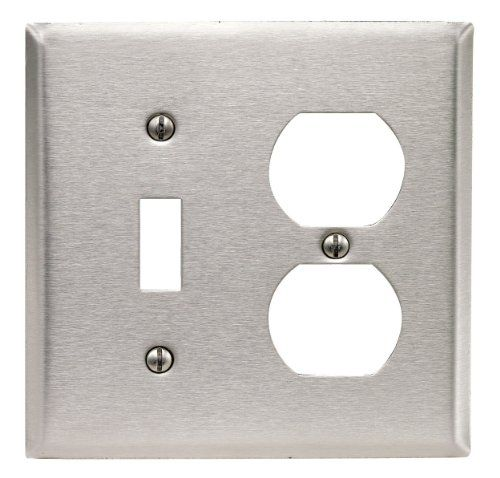 Leviton 84005 40 2 Gang 1 Toggle 1 Duplex Device Combination Wallplate Standard Size Device Mount Stainless Ste Plates On Wall Stainless Steel Plate Leviton