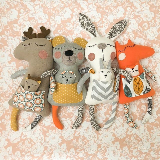 Plush animal toy sewing pattern PDF Stuffed animal tutorial Doll sewing Deer LLama Bear toy Easi pattern for beginners Soft toys sewing PDF