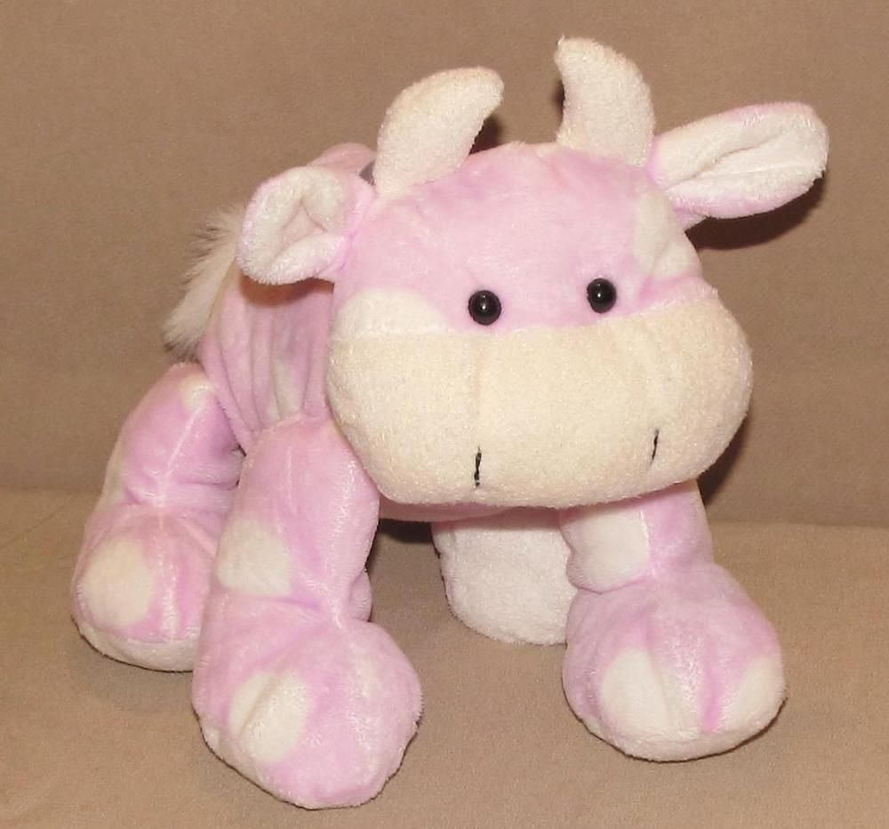 2007 Animal Adventure Pink White Polka Dot Cow Bull Lavendar Bow Plush Stuffed #AnimalAdventure