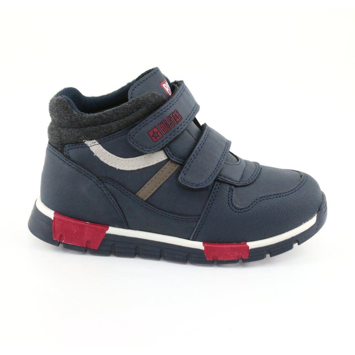 Buty Sportowe Na Rzepy Big Star 374065 Granatowe Biale Czerwone Blue Boots Sports Shoes Childrens Shoes