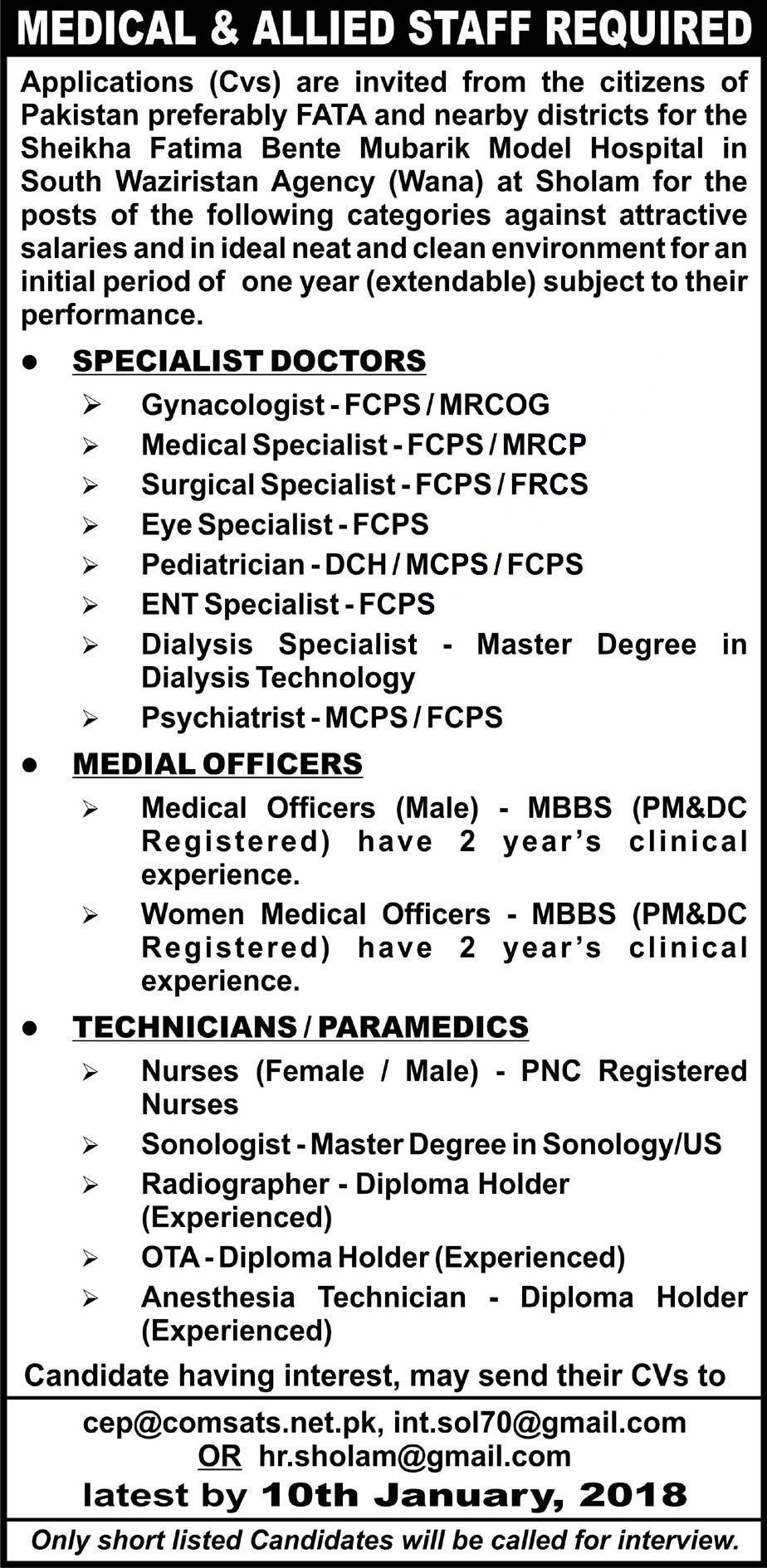 Sheikha Fatima Bente Mubarik Model Hospital Jobs  In