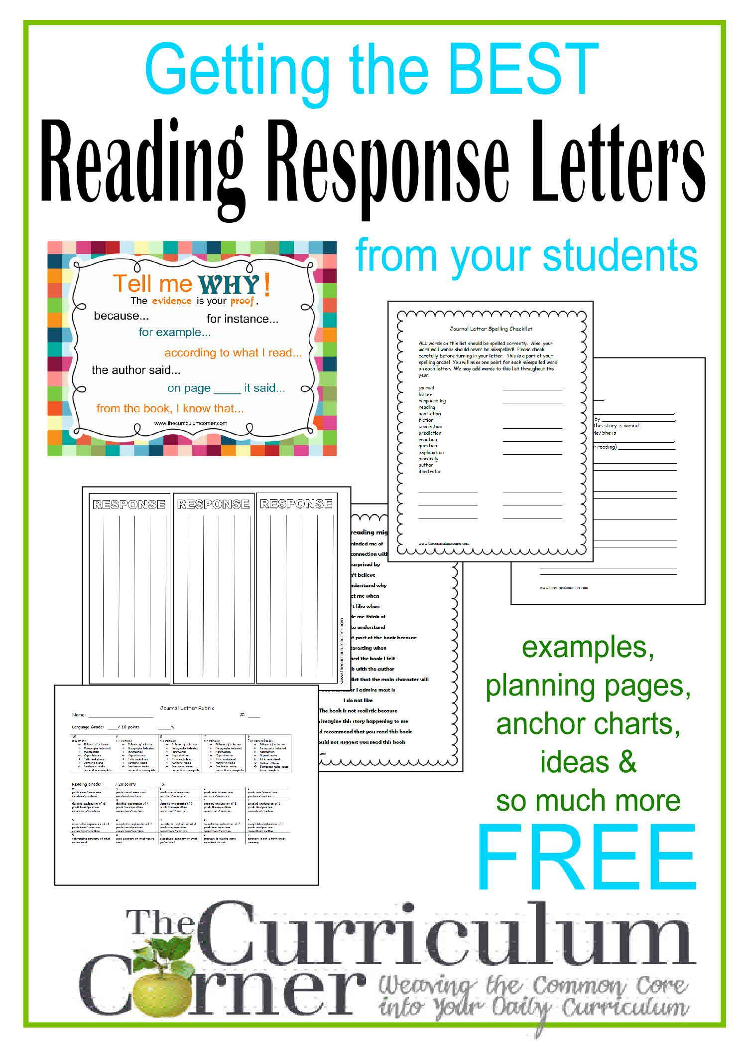Reading Response Letters  The OJays Curriculum And Reading Response