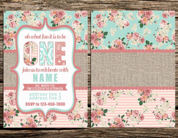 Digital File For Vintage Floral Shabby Chic Babys First Birthday - Digital first birthday invitation