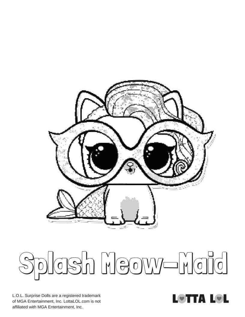 Splash Meow Maid Coloring Page Lotta Lol Foto Stampare Lol