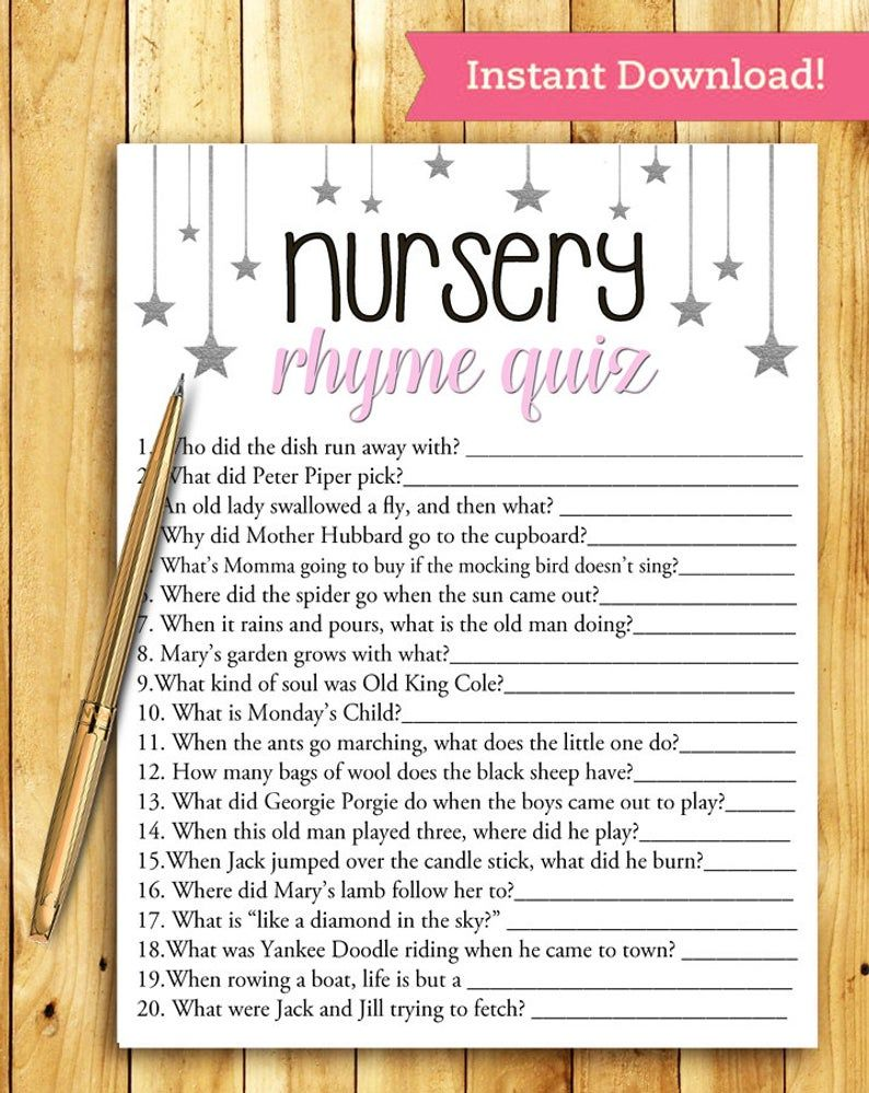 Nursery Rhyme Quiz Baby Shower Game – PINK and SILVER – Printable Digital Instant Download – Stars and Night Glitter Sparkle DIY Girl Shower