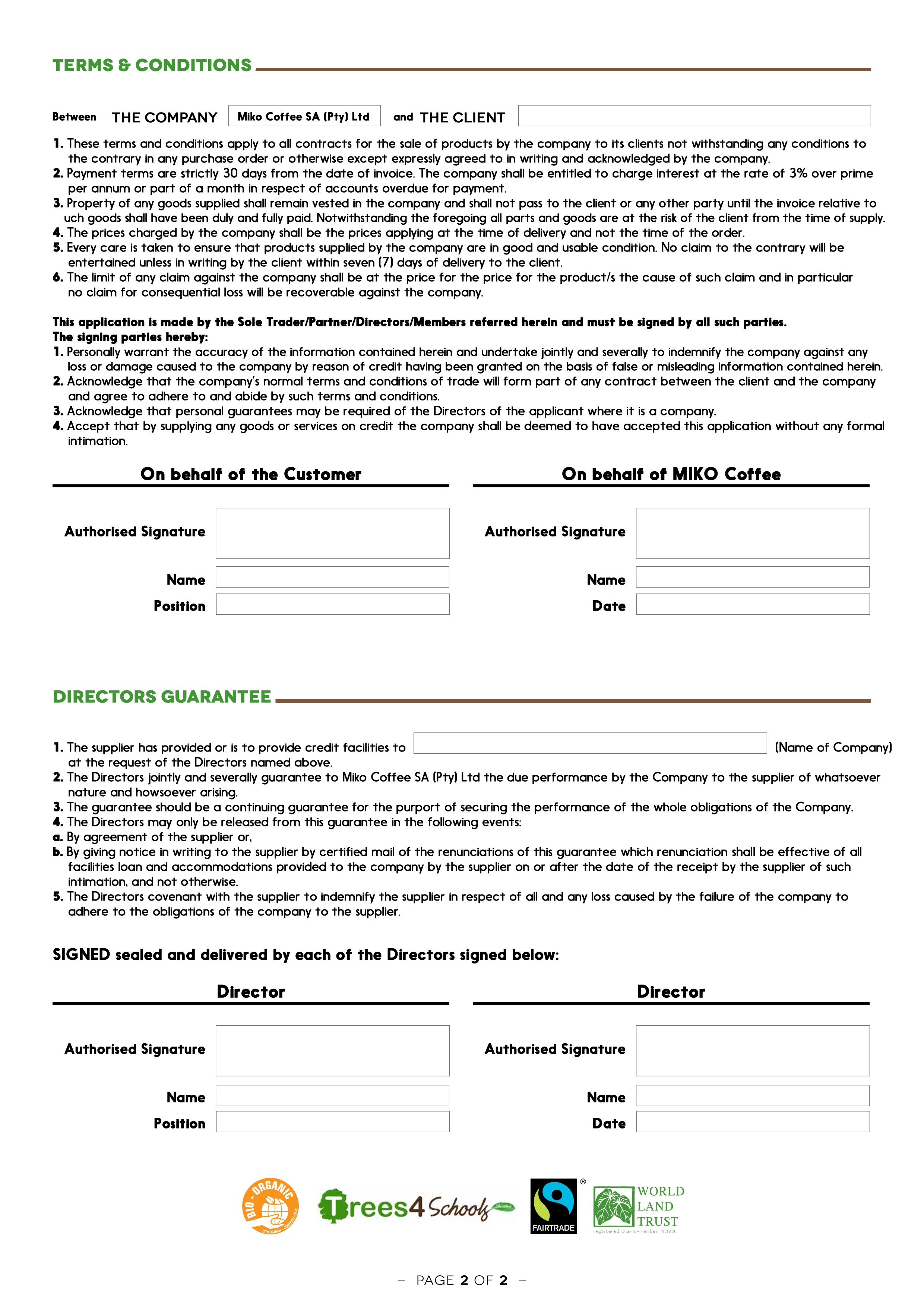 Credit Application Form For Miko Africa Back Page Kickasscoffee