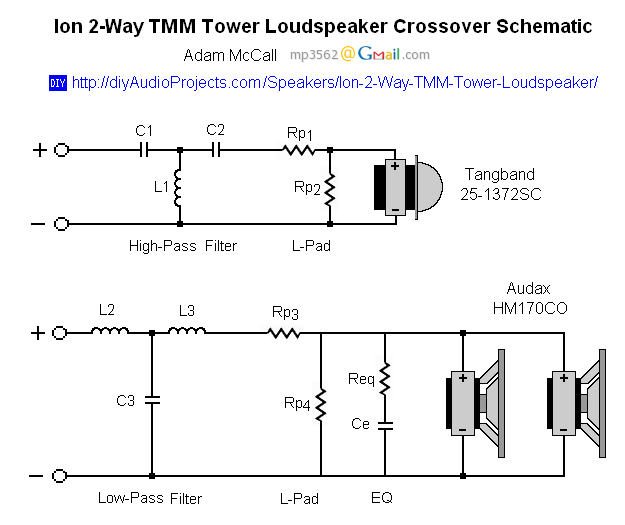 Crossover Schematic - Ion 2-Way TMM Tower Loudspeaker | Loudspeaker, 2 way,  Crossover | With 2 Way Speaker Crossover Wiring Diagram |  | Pinterest