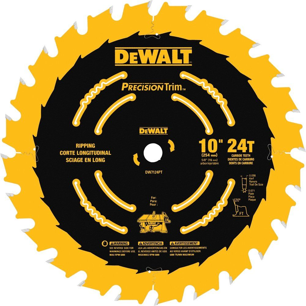 Dewalt Dw7124pt 10inch 24 Tooth Atb Ripping Saw Blade With 5 8inch Arbor And Tough Coat Finish You Could Lear Table Saw Blades Circular Saw Blades Saw Blade