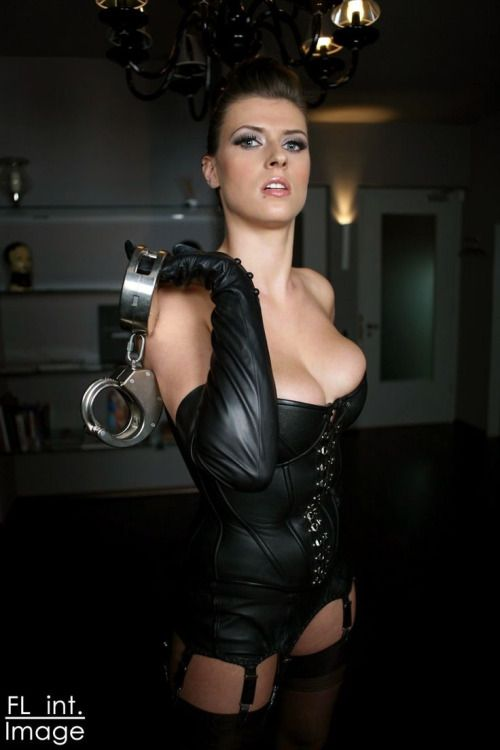 Female domination leather golves