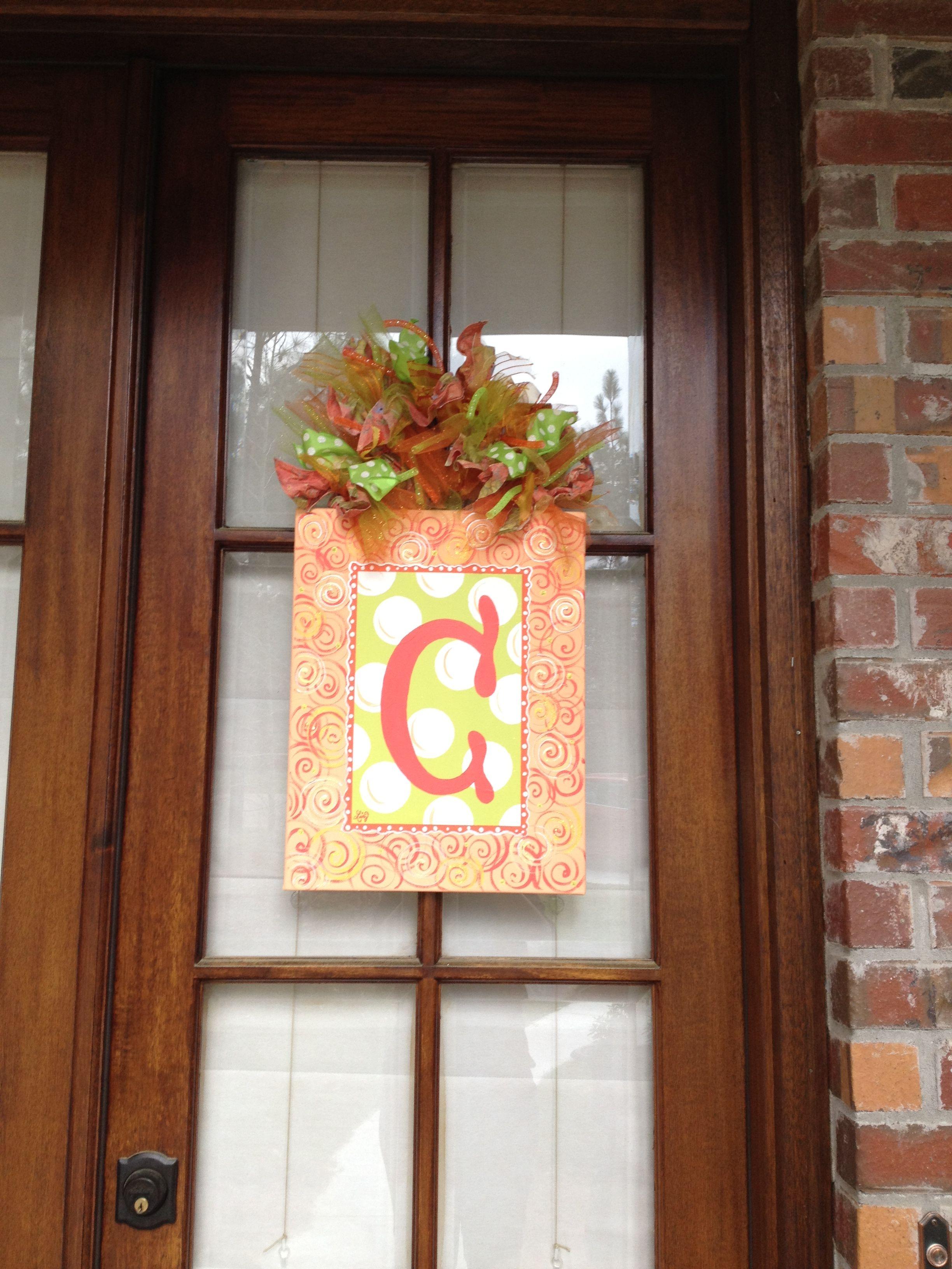 Monogram C Painted Door Hanger Painted Doors Door Decorations Holiday Decor