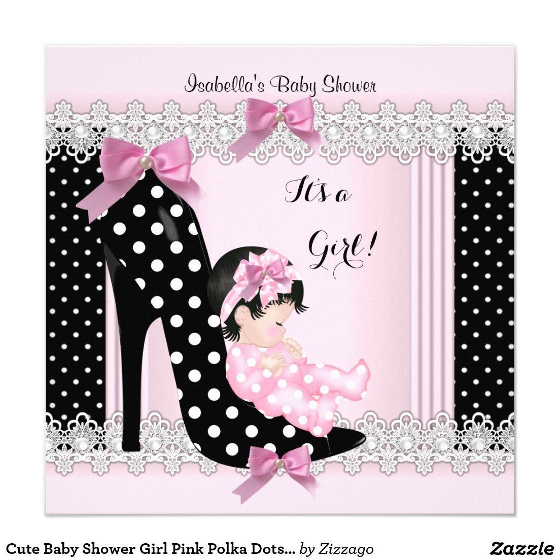 cute baby shower girl pink polka dots high heel 6a invitation in