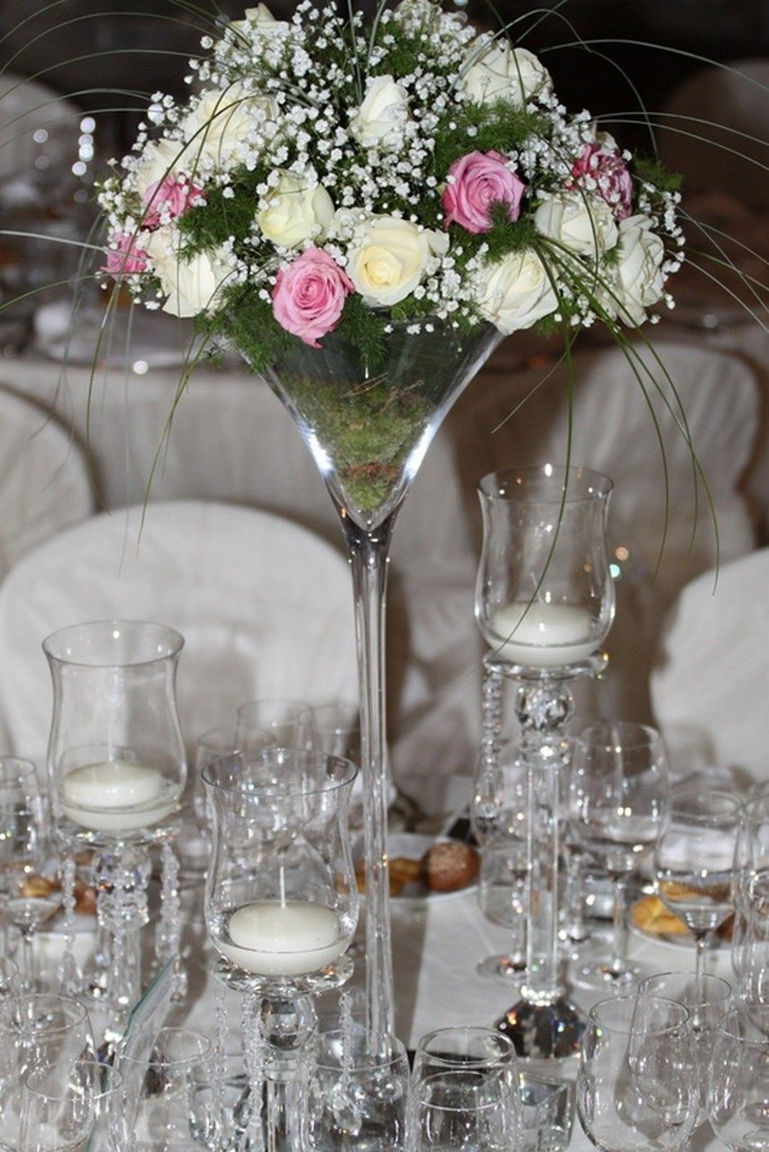 Hihght centrepiecespink and white flowers gypsophilaroses vb tall flower arrangements floridaeventfo Images