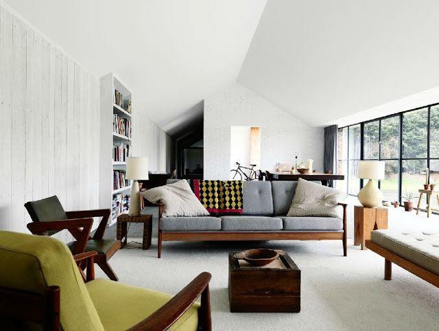 mid century modern decorating | modern living room barn house barnhouse paddock horse stable