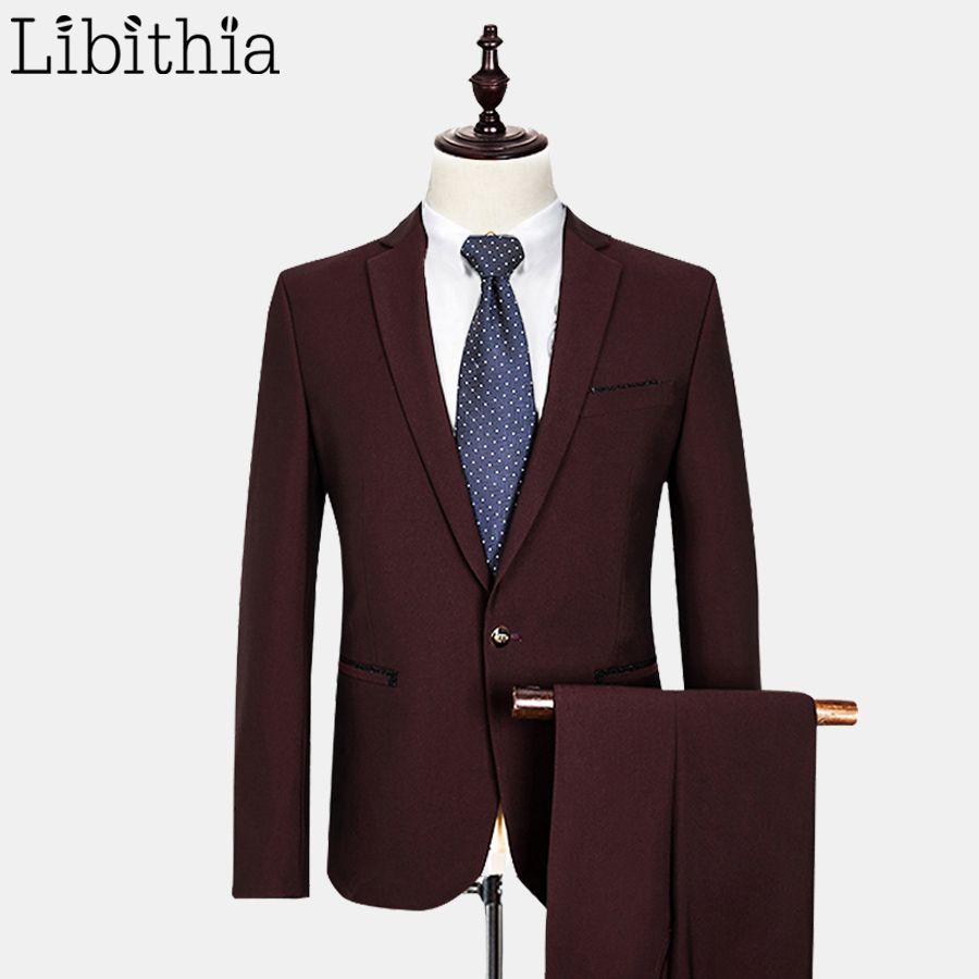 Jacket pant luxury menus formal suits with pants wool coats slim