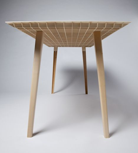 Wooden table by Ruben Beckers weighs just . kilograms  Mesas