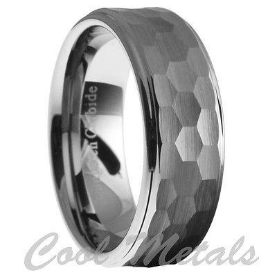 Mens Hammered Wedding Rings