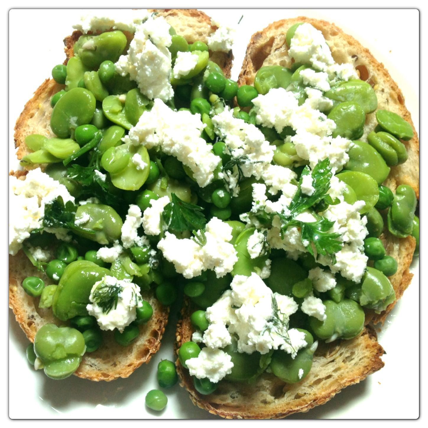 Pantry challenge: used up frozen broad beans, peas and feta