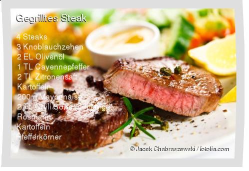 Leckeres Gegrilltes Steak Rezept mit einfacher Schritt-für-Schritt-Anleitung: Marinade mit 2 fein gehackten Knoblauchzehen, Öl, Cayennepfeffer und 1 TL ...