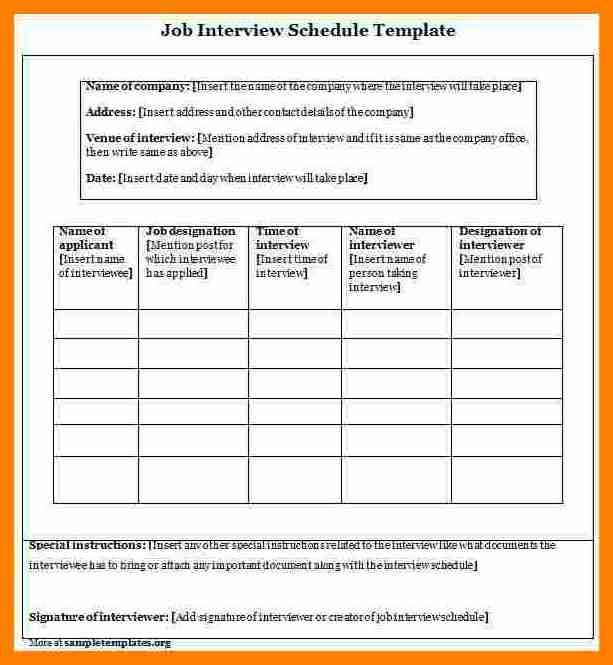 Image Result For Sample Interview Schedule Template For Managers