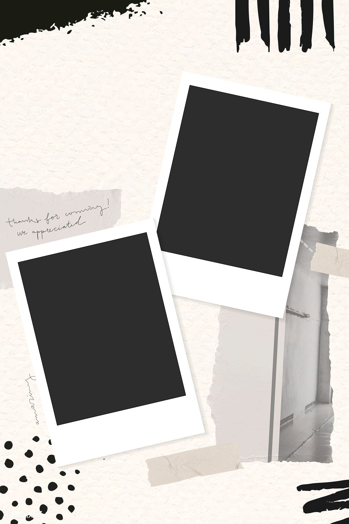 Download Premium Vector Of Collage Of Photos And Ripped Paper Background Instagram Frame Template Instagram Photo Frame Polaroid Picture Frame